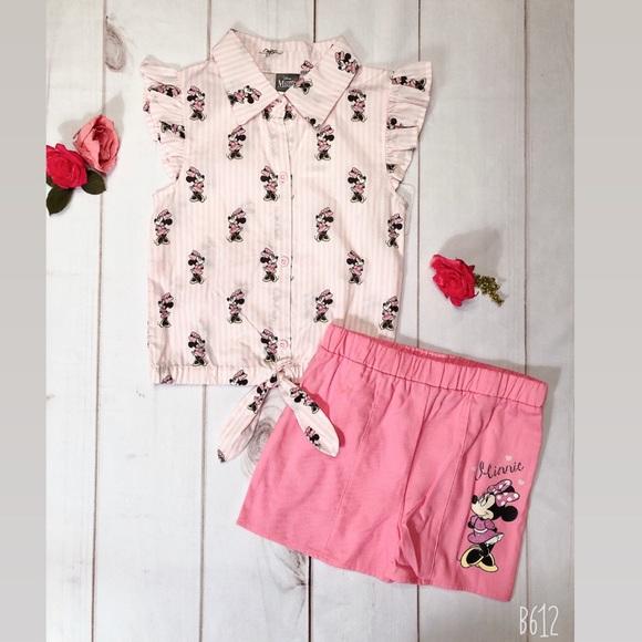 Disney Minnie Mouse 2 Piece Denim Short Set Size 4